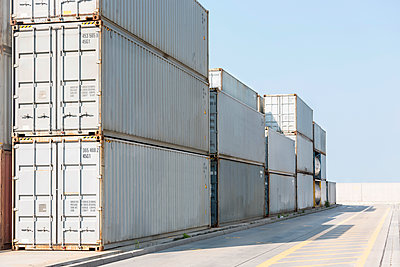 Stack of containers at harbor - p300m1115153f by Milton Brown