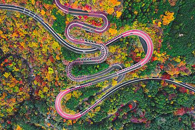 Scenic mountain road, Izu National Park, Honshu, Japan. Aerial view. - p651m2062132 by Marco Bottigelli
