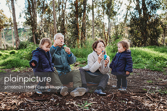 Grandparents blowing bubbles outside for granddaughters - p1166m2111848 by Cavan Images