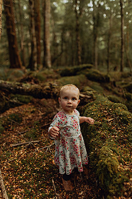 Baby girl exploring forest, Queenstown, Canterbury, New Zealand - p924m2098325 by Peter Amend