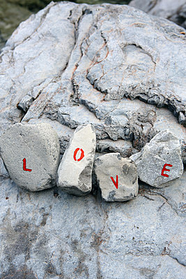 Letters on boulders, love - p1017m2221822 by Roberto Manzotti