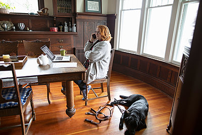 Black seeing eye dog laying on floor next to owner talking on phone at dining table - p1192m1583496 by Hero Images