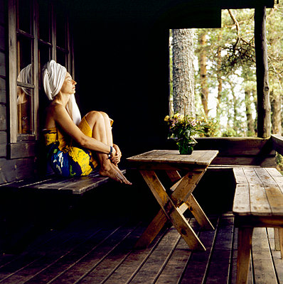 Woman after the sauna - p3223052 by Sari Poijärvi