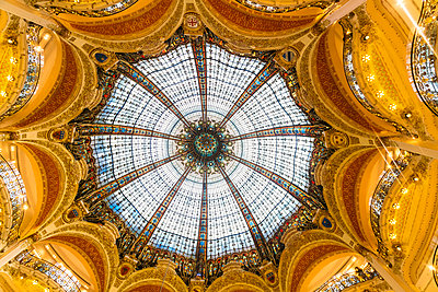 Galleries Lafayette Ceiling, The huge glass ceiling is a focal point of the iconic Paris department store. - p1332m1502792 by Tamboly