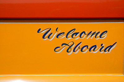 'Welcome Aboard Sign on bus - p3881371 by L.B. Jeffries