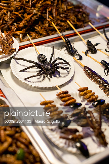 Thailand, Bangkok, insects for sale on a market - p300m2081133 by Mauro Grigollo