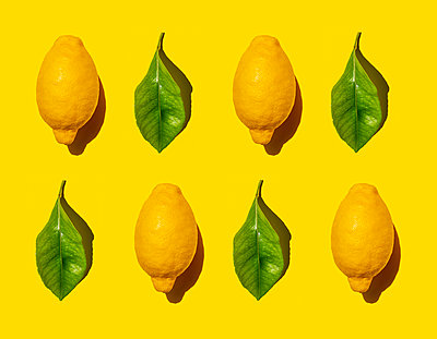 Pattern of ripe lemons and green leaves against yellow background - p300m2198247 by Gemma Ferrando