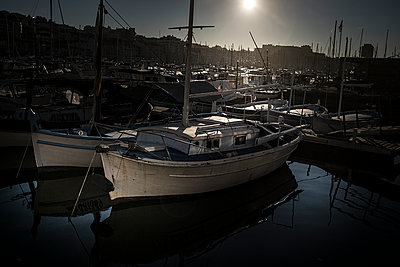 Old boat in Marseille marina - p1007m1134152 by Tilby Vattard