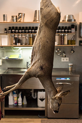 Deer hangs from the ceiling - p1076m1492801 by TOBSN