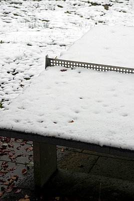 Snow covered table tennis table - p3006935f by Anja Weber-Decker