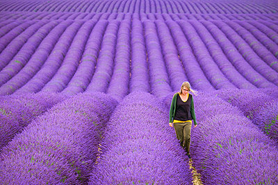 A young woman standing alone between rows of purple lavender in bloom in a field on the Plateau de Valensole - p1166m2136838 by Cavan Images