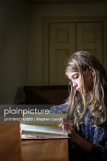 Girl reading a book - p1019m2142893 by Stephen Carroll