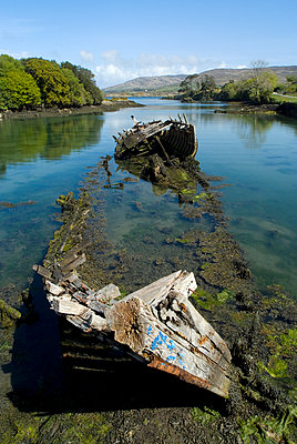 Rotting Boat Wreck In Water - p1562m2211282 by chinch gryniewicz