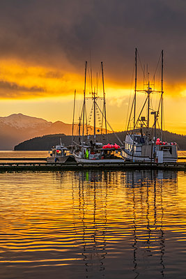 Commercial fishing boats in Auke Bay at sunset, Southeast Alaska; Juneau, Alaska, United States of America - p442m2074230 by John Hyde