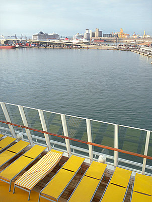 Cruise ship with yellow sunlounger - p4470345 by Anja Lubitz