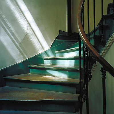 Staircase with light and shadows - p6750042 by Benoit Jeanneton