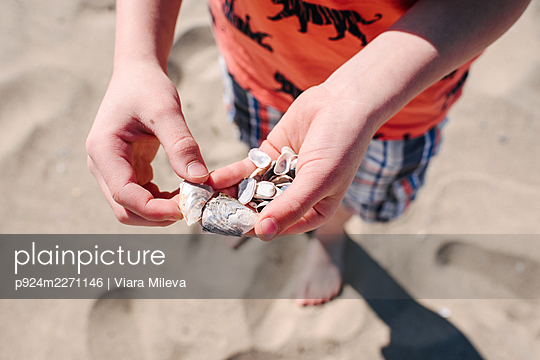 Boy holding shells on beach, close up - p924m2271146 by Viara Mileva