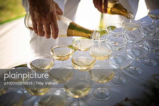 Serving champagne on the wedding party - p1007m2216515 by Tilby Vattard