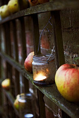Still life of apples and candles in jars on a trellis against a brick wall - p3493265 by Jonathan Birch