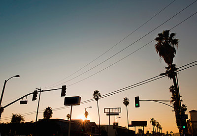 Hollywood Boulevard at sunset, Hollywood, Los Angeles, USA - p429m665545f by Markus Henttonen