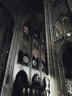 Interior of Notre Dame de Paris - p1166m1423069 by Cavan Images