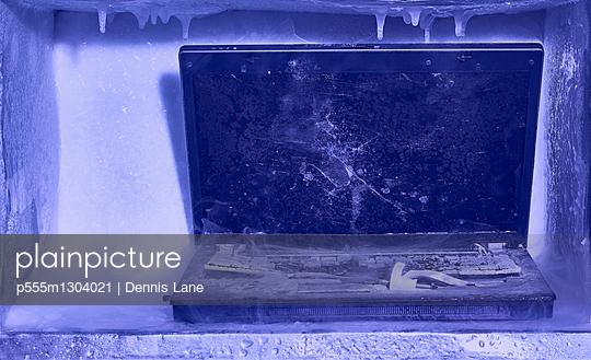 Frozen broken laptop computer - p555m1304021 by Dennis Lane