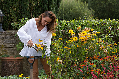 Woman working on garden - p429m2037036 by Jim Forrest