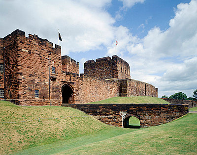 Carlisle Castle. View from the South West of the Outer Gatehouse and the Keep beyond. Mary, Queen of Scots was imprisioned at the castle in 1568.. - p8551718 by Jonathan Bailey