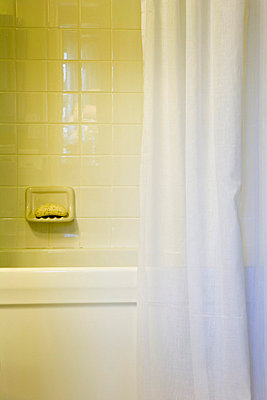 Tile Shower and White Shower Curtain in Traditional Bathroom - p5550987f by LOOK Photography