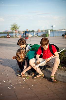 Drei Jungen schnitzen und warten  - p1195m1138168 von Kathrin Brunnhofer