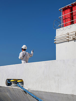 Work on the ship after mooring at the dock - p390m2032017 by Frank Herfort