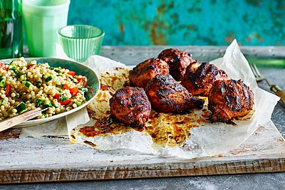 Smoked Paprika Chicken Legs, Pearl Couscous - p429m1062834 by BRETT STEVENS