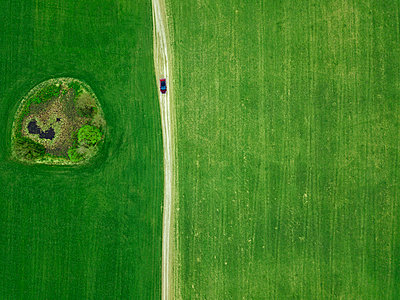 Russia, Moscow Oblast, Aerial view of car passing small pond in green countryside field - p300m2198505 by Konstantin Trubavin