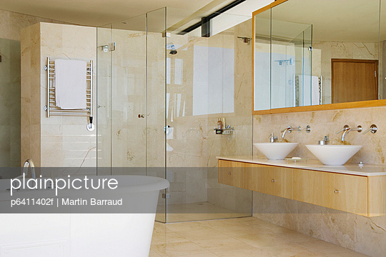 Modern bathroom shower vanity and bathtub