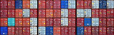 The stacked freight containers on the deck of a container ship.  - p1100m1216228 by Mint Images