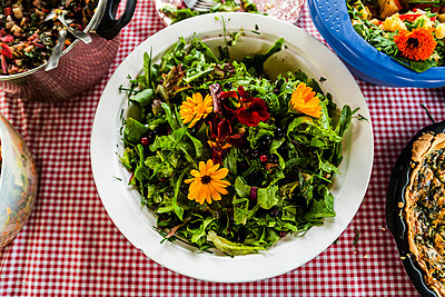 Salad with flowers - p867m1044860 by Thomas Degen