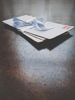 Letter tied with ribbon - p1072m2164581 by Neville Mountford-Hoare