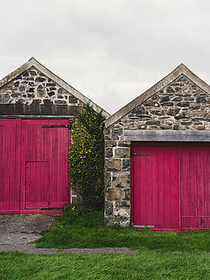 Stone Outbuilding with Red Doors - p1335m1497370 by Daniel Cullen