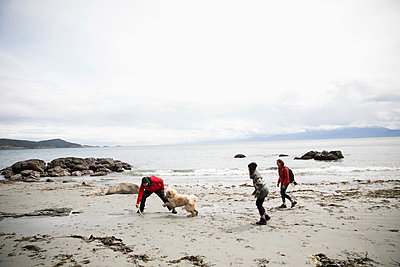 Family with dog playing on rugged beach - p1192m2000494 by Hero Images
