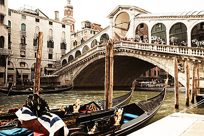 Venetian Gondola and Rialto Bridge - p579m2014840 by Yabo