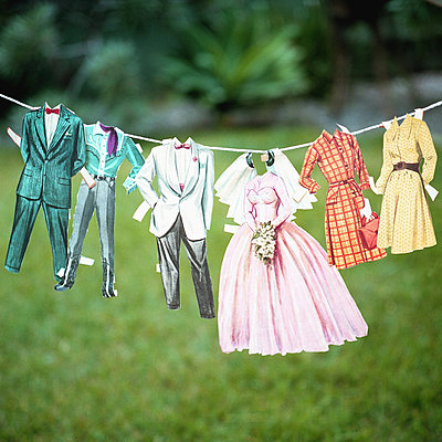 Paper Doll Clothing Outfits Hanging on Line - p694m720326 by Aline Smithson photography