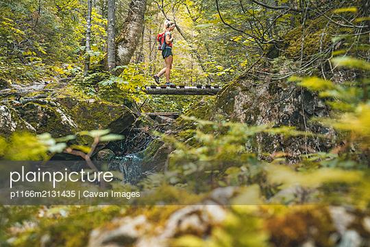 Female Hiking Bridge Crossing in Lush Quebec Forest - p1166m2131435 by Cavan Images
