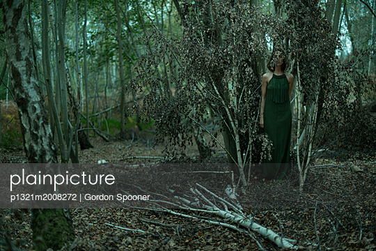 Woman in between trees - p1321m2008272 by Gordon Spooner