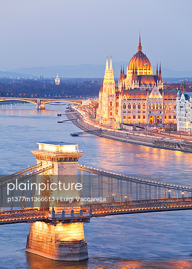 View from Buda Castle over the Danube river, Chain Bridge (Szechenyl Lanchid) and Parliament - p1377m1366613 by Luigi Vaccarella