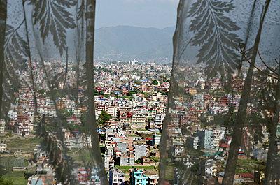 City Through Window Curtains - p1562m2158199 by chinch gryniewicz