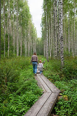 Finland, Kuopio, mother and daughter walking in a birch forest - p300m2070619 by Petra Silie
