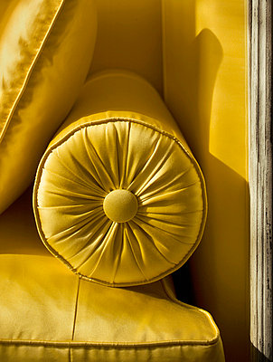 Detail of a cushion on a settee - p312m672834 by Bruno Ehrs