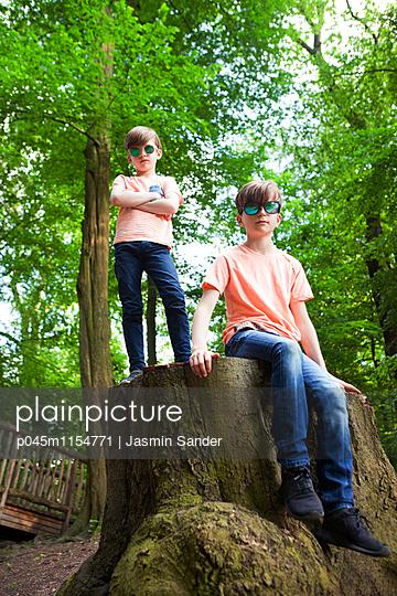 Zwei coole Brüder auf Baumstamm - p045m1154771 von Jasmin Sander