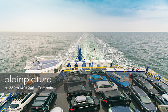 Cars on the deck of a ferry at the baltic sea - p1332m1491246 by Tamboly