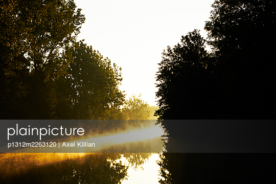 Canal with haze and sun in the backlight - p1312m2263120 by Axel Killian